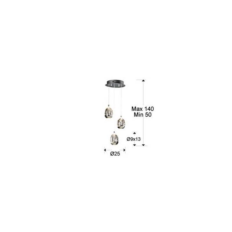 Lámpara colgante Rocio 3 luces LED cromo Schuller