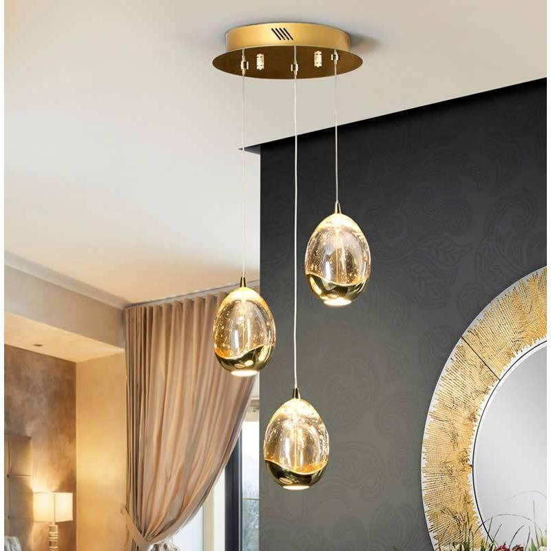 Lámpara colgante Rocio 3 luces LED oro - Schuller