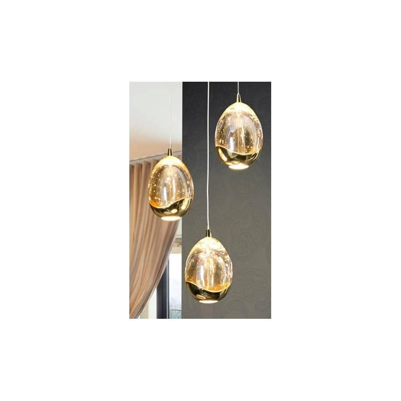 Lámpara colgante Rocio 3 luces LED oro Schuller