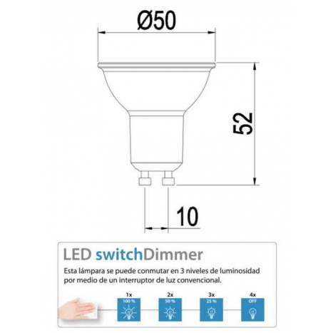 Bombilla LED 7w GU10 regulable 3 posiciones