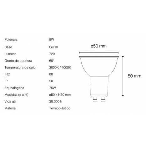 Bombilla LED 8w GU10 60° Star regulable - Maslighting