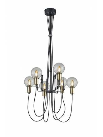 TRIO Nacho 6L black & gold metal pendant lamp