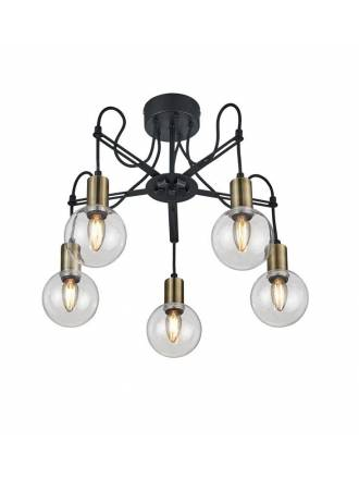 TRIO Nacho 5L black & gold metal ceiling lamp