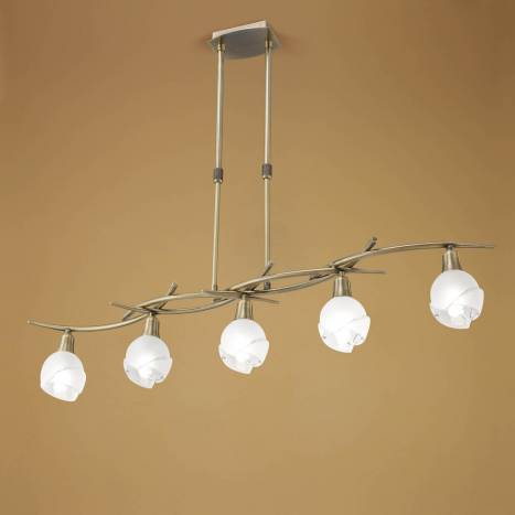 Mantra Bali pendant lamp linear leather 5L E14