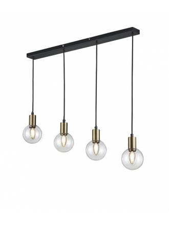 Lámpara colgante Nacho 4L lineal negro + oro - Trio