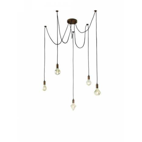 TRIO Cord 5L pendant lamp copper