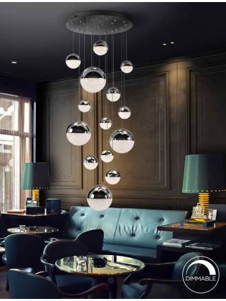 Lámpara colgante Sphere 14L LED cromo - Schuller