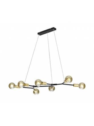 TRIO Cross 7L black + gold pendant lamp