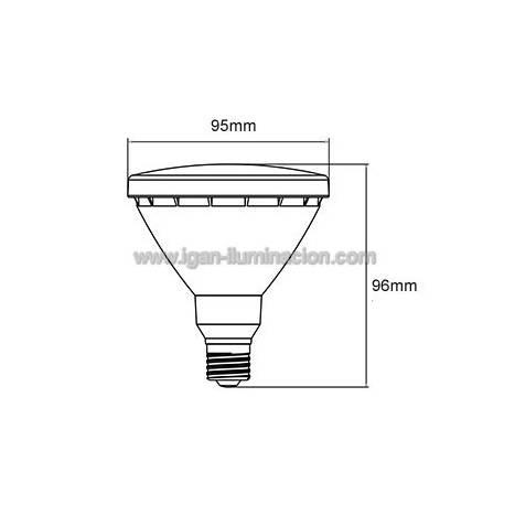 Bombilla LED PAR30 10w E27 230v 30º IP65 de Maslighting