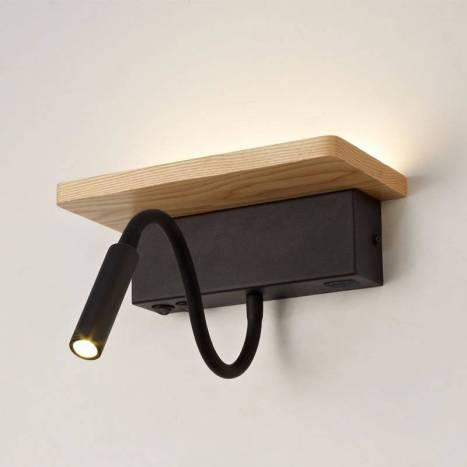 Aplique de pared Bach LED 5+3w madera - Cristalrecord
