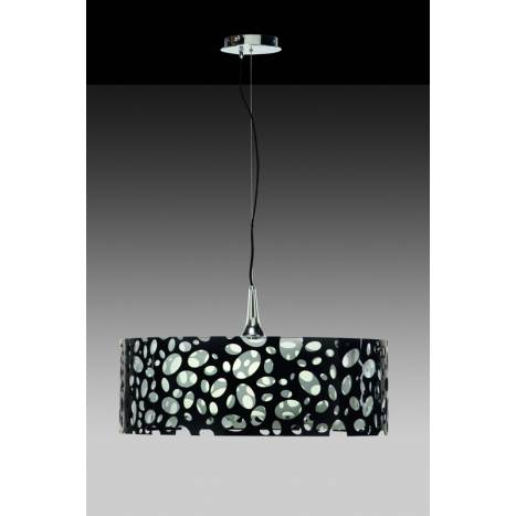 Mantra Moon pendant lamp round chrome/white + Black 4L