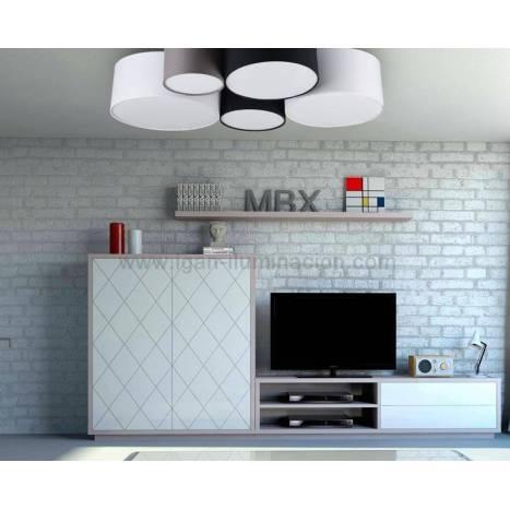 TRIO Hotel 5L E27 fabric ceiling lamp