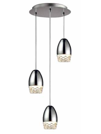 SCHULLER Alessa LED 3L molded glass pendant lamp