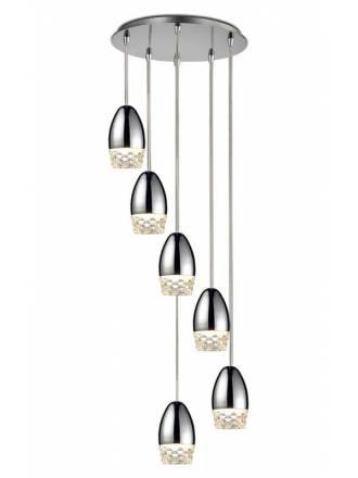 Lámpara colgante Alessa Led 6L cristal - Schuller