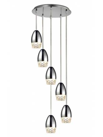 SCHULLER Alessa LED 6L molded glass pendant lamp