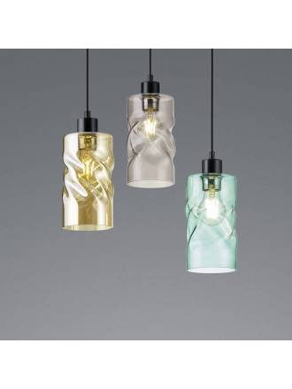 TRIO Swirl 1L E27 pendant lamp glass