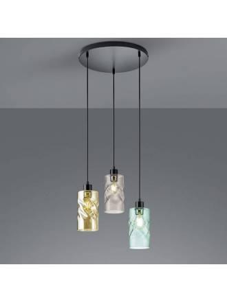 Lámpara colgante Swirl 3L E27 38cm cristal - Trio
