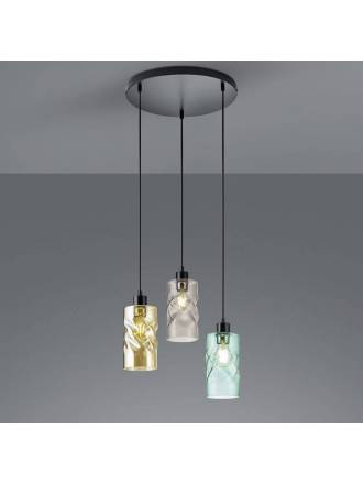 TRIO Swirl 3L E27 38cm pendant lamp glass