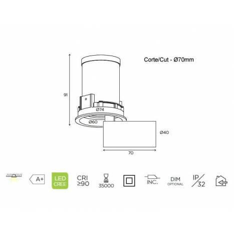 Foco empotrable Mini Martorell LED - Bpm