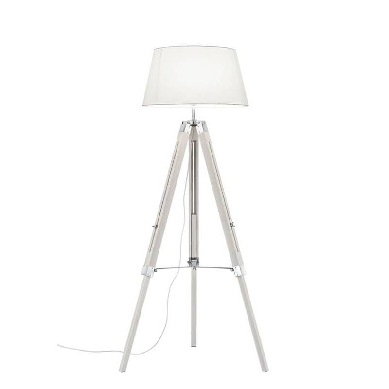 Trio Tripod Floor Lamp White Wood