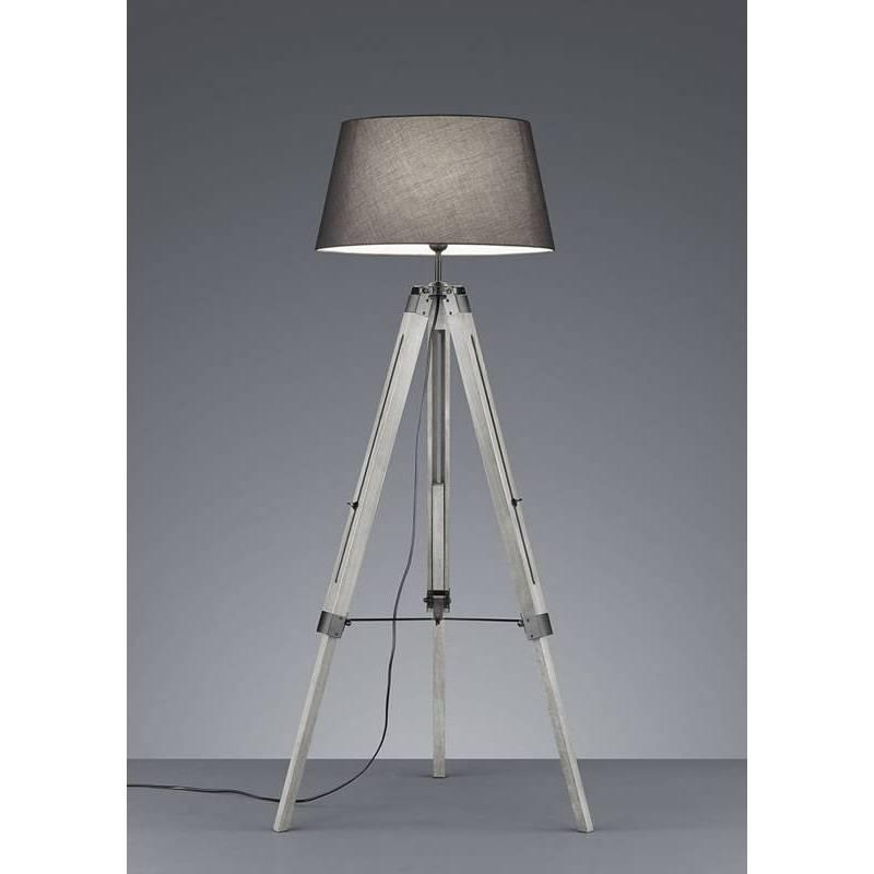 Trio Tripod Floor Lamp Grey Wood, Tripod Spotlight Floor Lamp Aldi