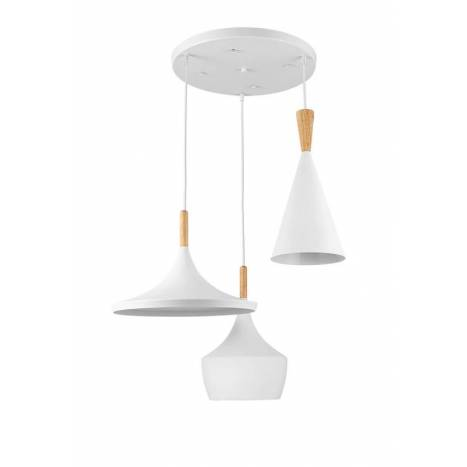 Lámpara colgante Eyra 3L E27 blanco - Jueric