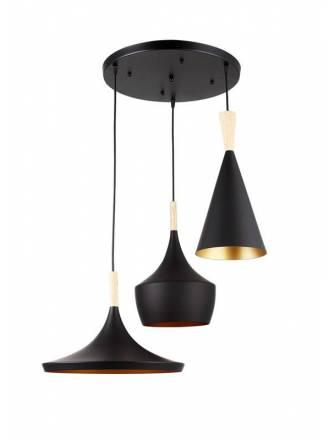 Lámpara colgante Eyra 3L E27 negro - Jueric