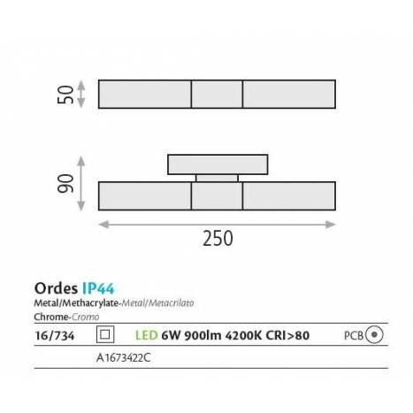 Aplique de pared Ordes LED IP44 cromo - ACB