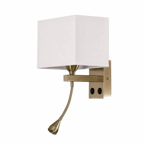 Aplique de pared Doble tela E14 y Led 3w bronce de Daviu