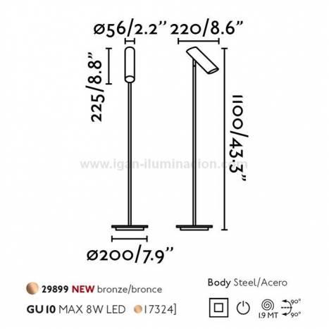 Lámpara de pie Link GU10 bronce - Faro