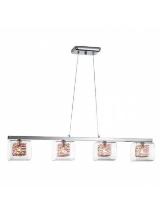 SCHULLER Lios 4L glass copper pendant lamp