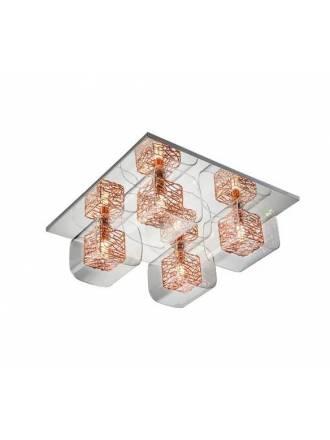 Plafón de techo Lios 4L cristal cobre - Schuller