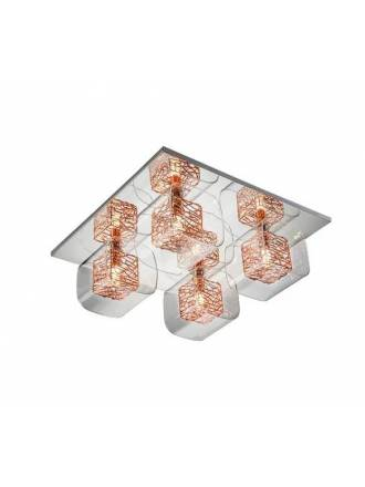 SCHULLER Lios 4L glass copper ceiling lamp