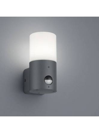 TRIO Hoosic E27 IP44 sensor wall lamp anthracite