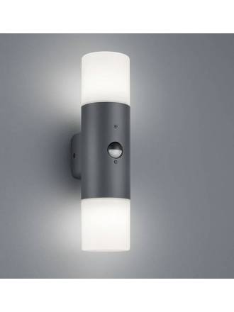 TRIO Hoosic 2L E27 IP44 sensor wall lamp anthracite