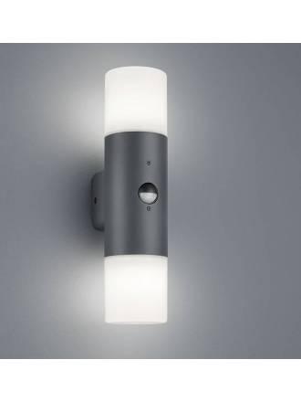 TRIO Hoosic 2L E27 IP44 sensor wall lamp anthracite
