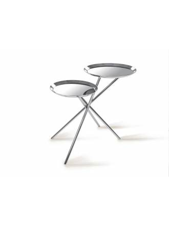 SCHULLER side table Dueto gloss chrome