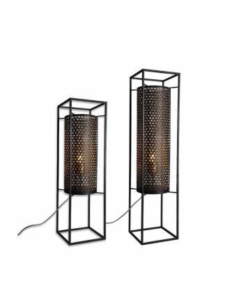 Lámpara de pie Vera E27 metal negro oro - Schuller