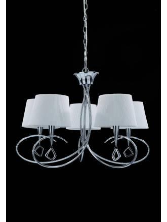 Lampara colgante Mara 5 luces cromo y tela blanca de Mantra