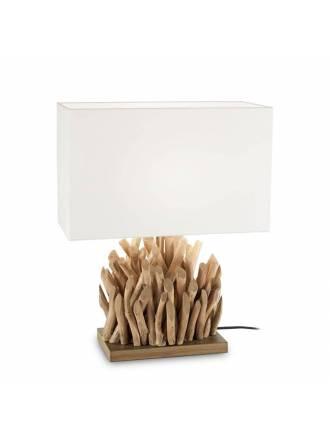 Lámpara de mesa Snell madera + tela - Ideal Lux