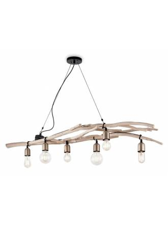 IDEAL LUX Driftwood 6L wood pendant lamp
