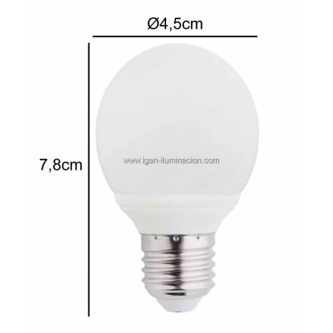 Bombilla LED 6w E27 230v Esferica de Maslighting