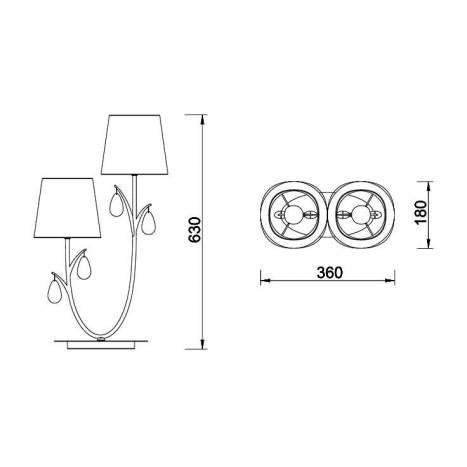 Lámpara de mesa Andrea 2L E14 - Mantra