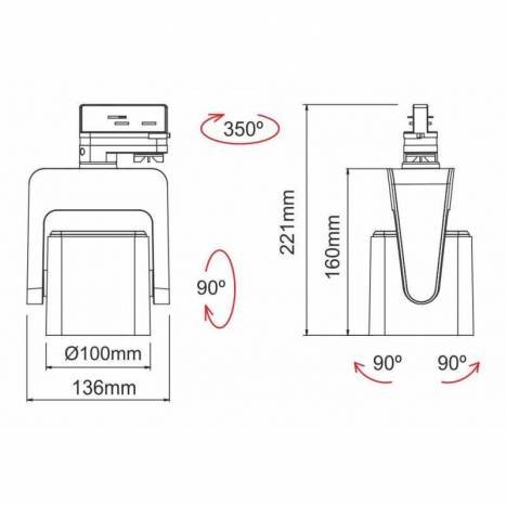 Foco de carril trifásico Kom LED 35w - Beneito Faure