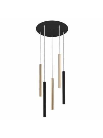 Lámpara colgante Varas LED 5L negro oro - Schuller