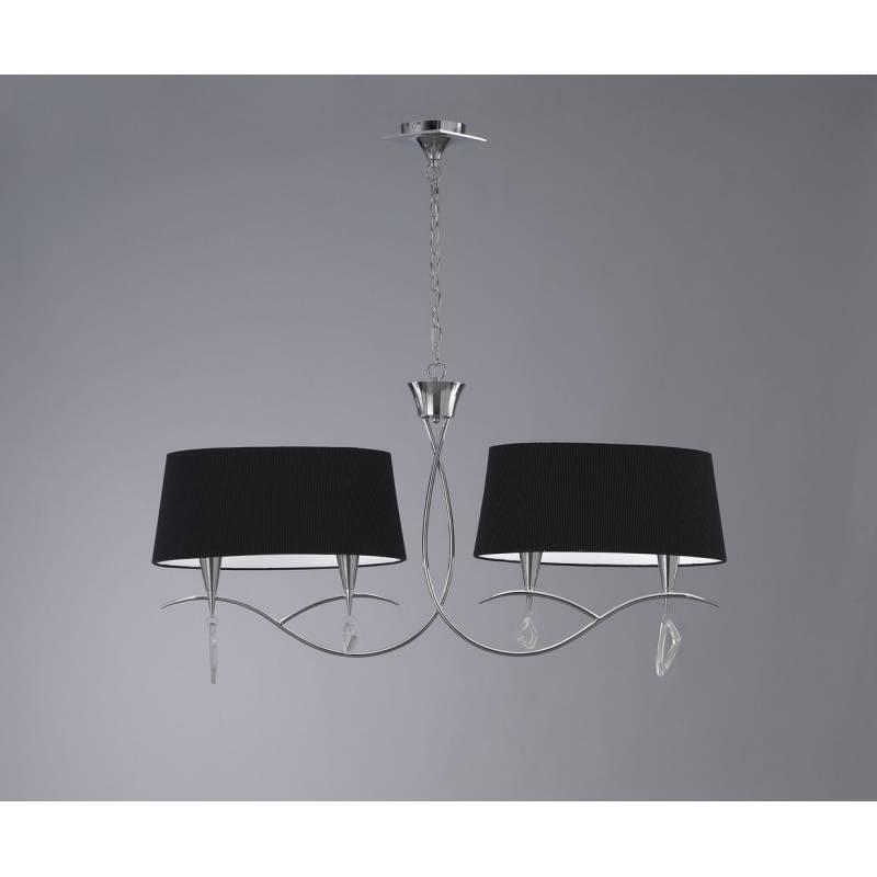 L mpara colgante mara lineal 4 luces cromo tela negra mantra for Lamparas para banos precios