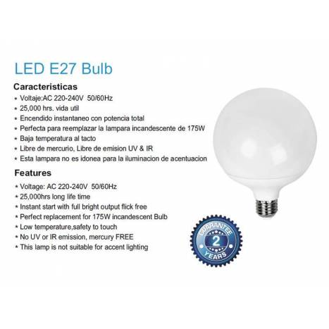 Bombilla LED 22w E27 Globo G120 - Mantra