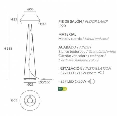Lámpara de pie Banyo 1L E27 cuerda - Ole