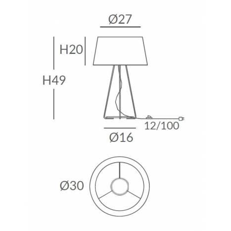 Lámpara de mesa Drum 1L E27 cuerda - Ole