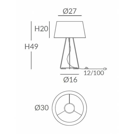 OLE by FM Drum 1L E27 table lamp cord